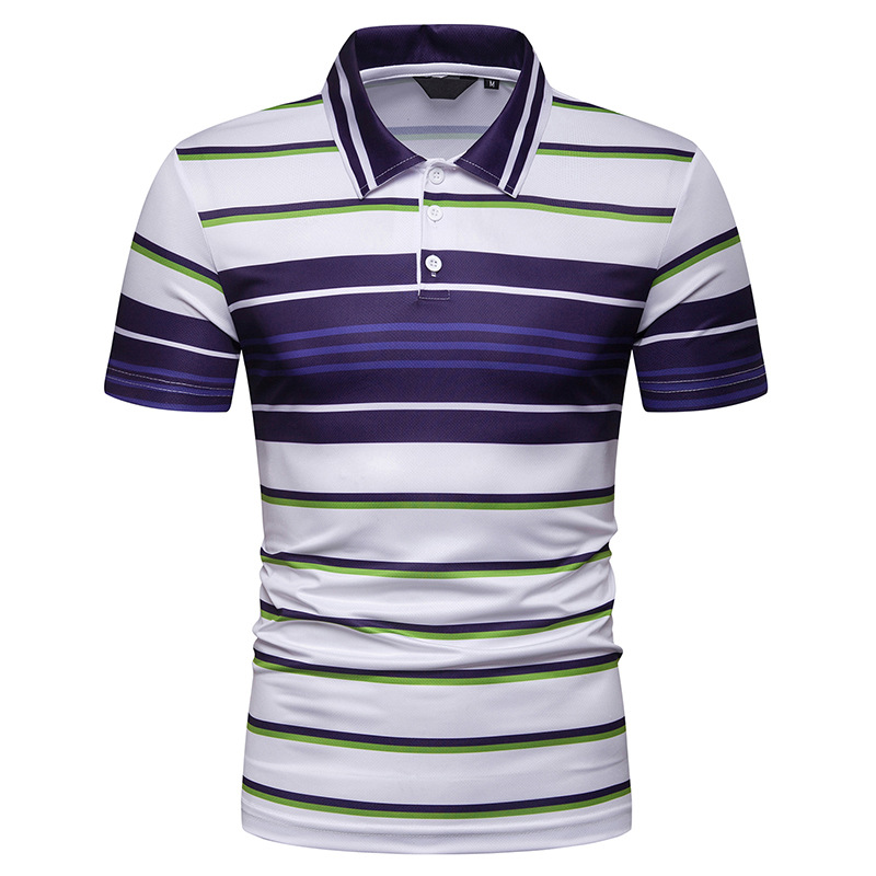 2019 Free Shipping New Summer Men's Short Sleeve   Polo   Shirt Male Contrast Color Stripe Slim Fit Lapel Casual Mens   Polo   Shirt