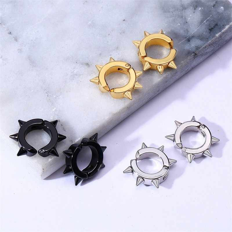 Mens Stud Earrings Punk Ear Clips Jewelry In Black Tone Stainless Steel Without Piercing Earrings Cuff Smooth Delicate
