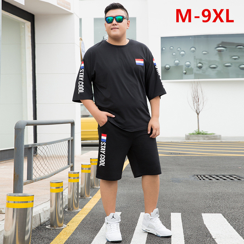 Summer Shorts White Red Tracksuit Men Tee Shirt Homme Plus Size 6XL 7XL 8XL 9XL Mens Clothing 2 Two Piece Set Boys Sets Clothes