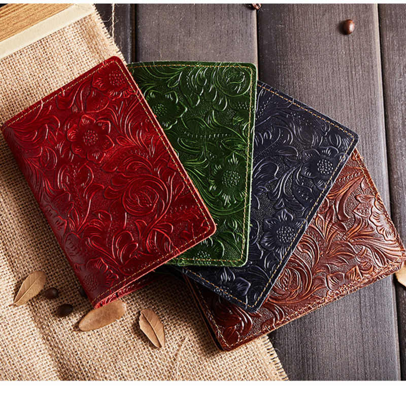 Business Unisex Travel Wallet Genuine Leather Passport Cover 685-40 Solid Credit Card Holder Vintage Men Women Passport Case