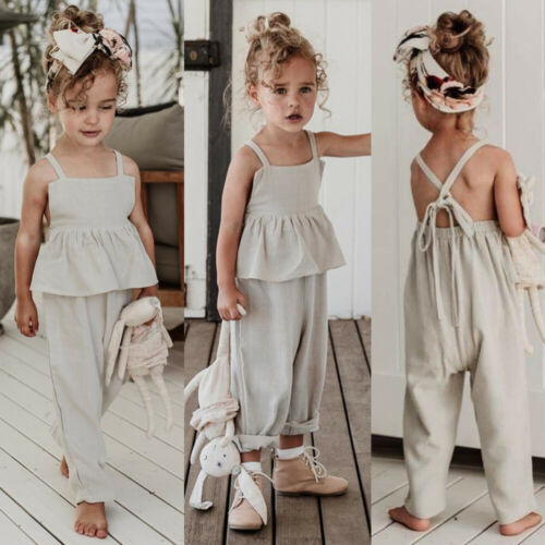 >US Toddler Kids Baby Girl Clothes Solid <font><b>Color</b></font> Holiday Overall Ruffle Bandage Jumpsuit Bodysuit One-Pieces Sunsuit <font><b>Outfit</b></font> Summer