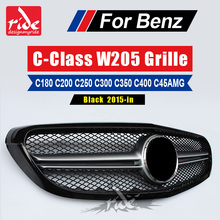 все цены на For Mercedes Benz W205 Front Bumper Grille ABS Material C-Class C180 C200 C250 C300 C350 C400 C45 AMG Black Front Grille 2015-in онлайн