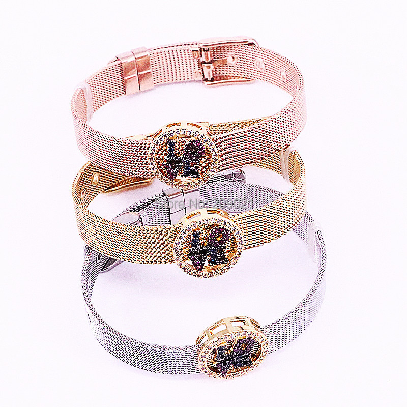 Fashion Design 5Pcs Brass Jewelry Watch Belt Gold Color Micro Pave Cubic Zirconia Round Space charm