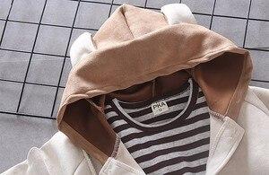 Image 5 - Children Girls Boys Cotton Clothing Spring Autumn Kid Cartoon Hooded Jacket Stripe T Shirt Pants 3Pcs/Set Fashion Baby Tracksuit