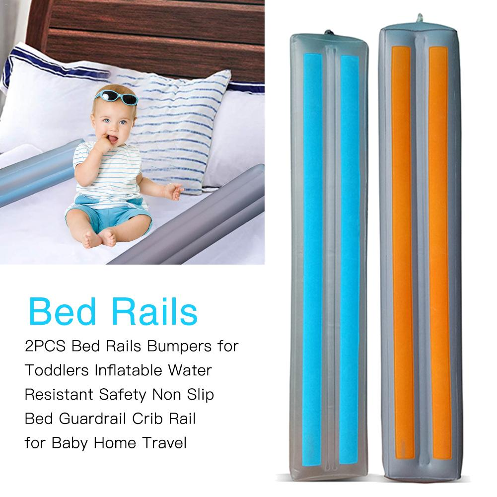 2PCS Bed Rails Bumpers For Toddlers Inflatable Water Resistant Safety Non Slip Bed Guardrail Crib Rail For Baby Home Travel