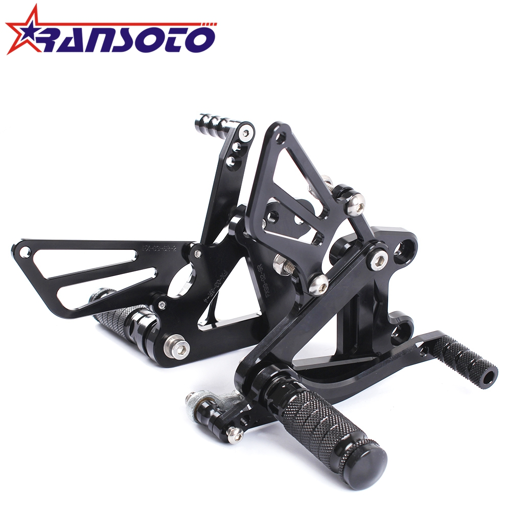 RANSOTO Full CNC Aluminum Motorcycle Adjustable Rearsets Rear Sets Foot Pegs For KAWASAKI ZX6R ZX-6R 1999-2002