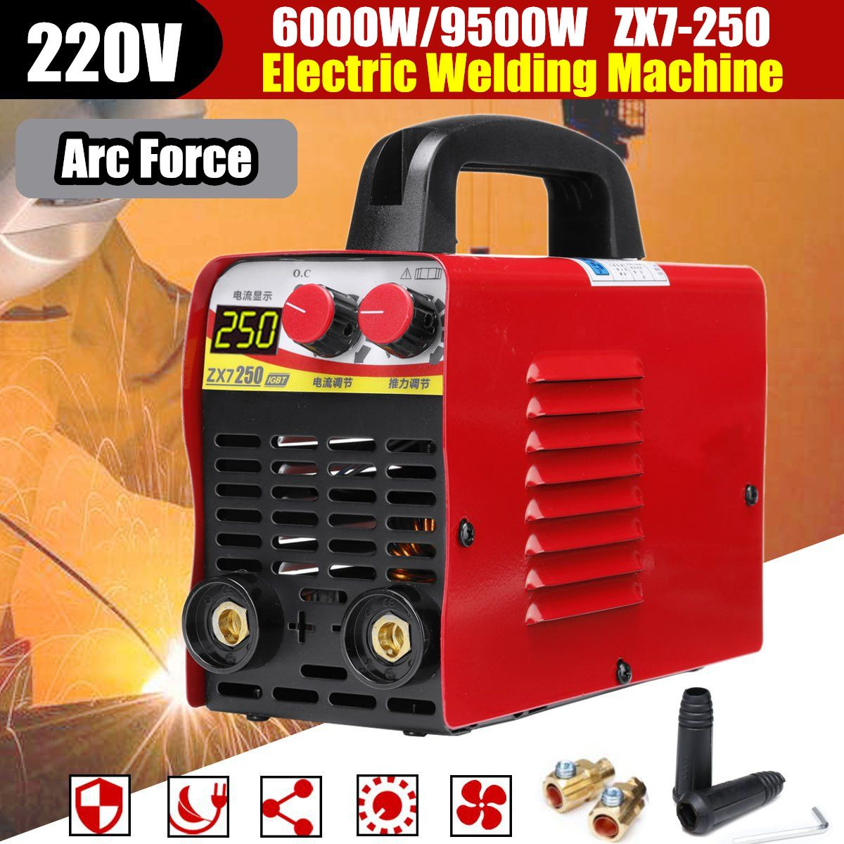 Mini/Pro 220V 6KW/9.5KW ZX7-250 10-250A Arc Force Electric Welding Machine LCD Display MMA IGBT Inverter Welders NewestMini/Pro 220V 6KW/9.5KW ZX7-250 10-250A Arc Force Electric Welding Machine LCD Display MMA IGBT Inverter Welders Newest