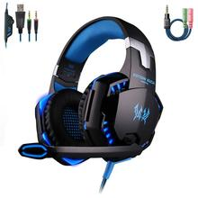 Gaming Headphone KOTION EACH G2000 Stereo Game Headsets Cesque With Microphone LED Light For PC Computer Gamer Tablet jolly roger microphone for cellphone tablet pc musical instrument and computer