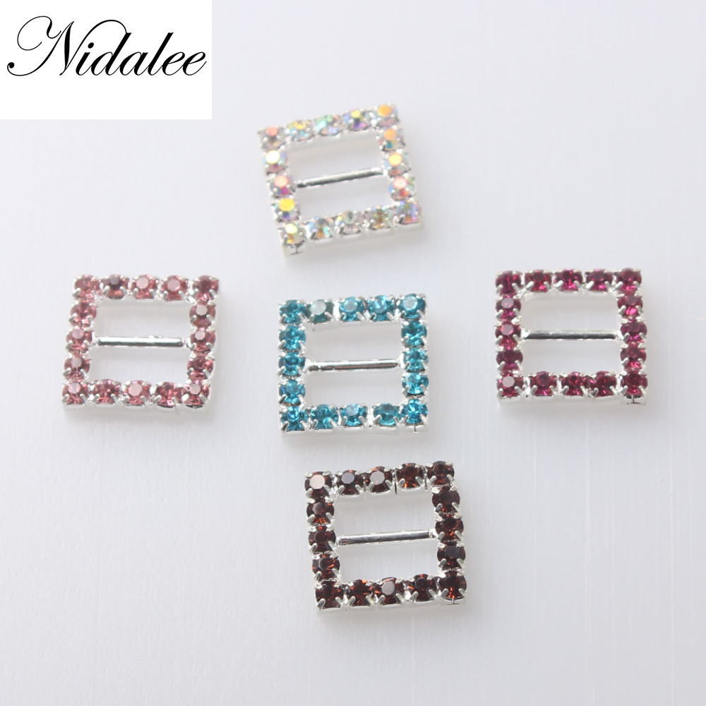 Nidalee <font><b>15mm</b></font> Rectangle Shape Ribboon Slider <font><b>Buckles</b></font> Eco-friendly Crystal Rhinestone <font><b>Buckles</b></font> For Wedding Invitations Chair Sash image