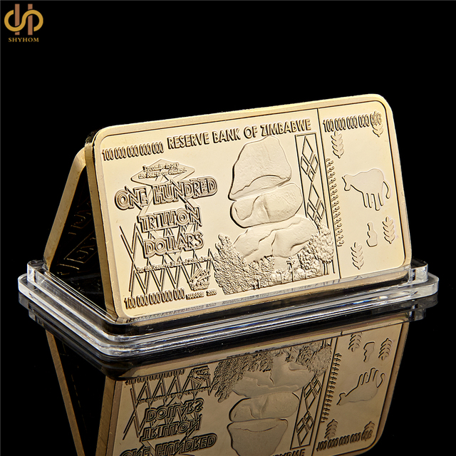 Zimbabwe 100 Trillion Dollar Gold Silver Clad Bullion Bar Reserve Bank Of Coin For Collection And Table Decoration
