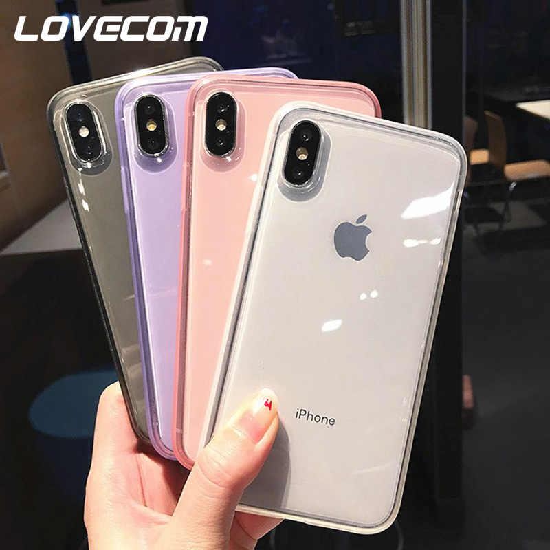 Lovecom Transparan Shockproof Case Bingkai untuk iPhone 11 Pro Max XR X Max 6 6S 7 7 Plus X tubuh Penuh Lembut Tpu Telepon Kembali Penutup
