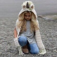 Брендовый зимний шарф для детей ясельного возраста, вязаная крючком зимняя шапка с рисунком единорога из мультфильма, вязаная длинная шапка с капюшоном, Великобритания
