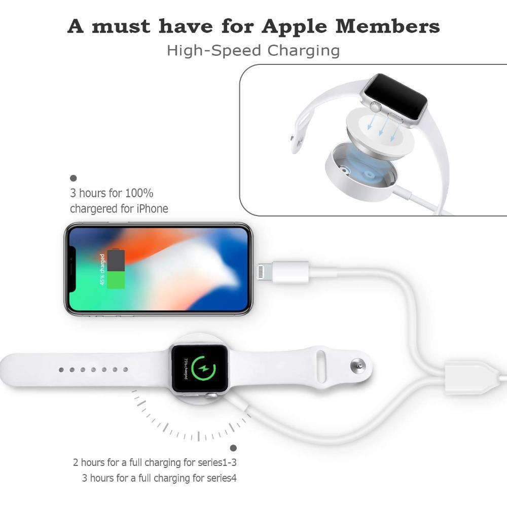 Dsstyles 2 In 1 Draadloze Oplader Voor Apple Horloge Serie 1 2 3 4 Usb Magnetische Oplaadkabel 3.3 Voeten /1 Meter Voor Iphone 7 8 X Max Elegant In Stijl
