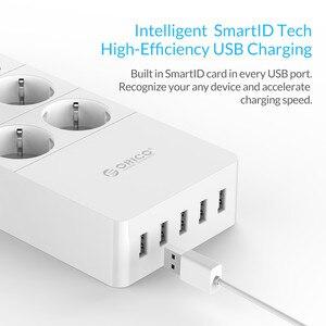 "Image 4 - ORICO HPC V1 USB האיחוד האירופי בריטניה ארה""ב חשמל שקע חכם כוח רצועת עומס מתג Surge הגנה 4 6 8 יציאות AC 5 2.4A USB יציאות"