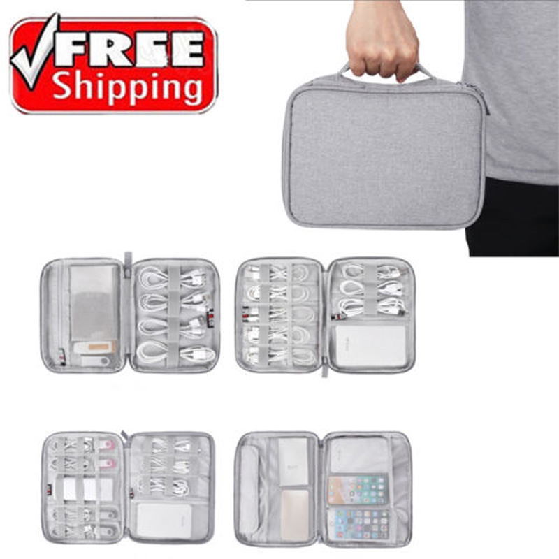 Electronic Accessories Gray Organizer Bag Travel Solid Storage Bag Cable USB Charger Storage Portable