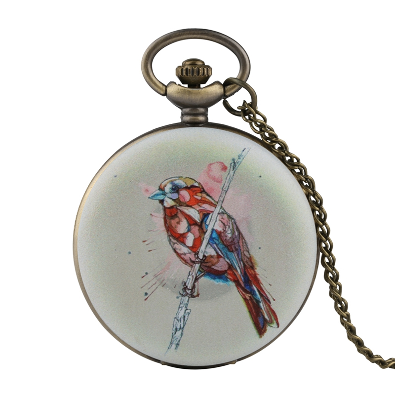 Unique 3D Bird On The Tree Design Quartz Pocket Watch Necklace Birds FOB Clock Pendant Chain Jewelry Gifts For Men Women Ulzzang