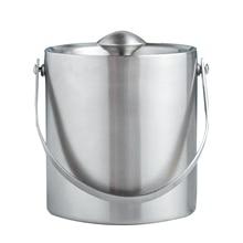 Ведро для льда серебро 1.3L нержавеющая сталь Изолированная крышка щипцы охладитель вина