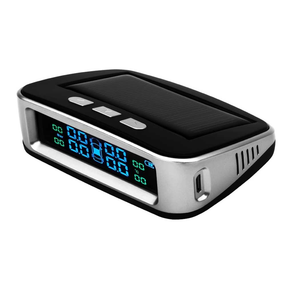 Système de moniteur d'alarme de pression de pneu de voiture sans fil TPMS affichage LCD voiture à énergie solaire 4 capteur externe alarme de température