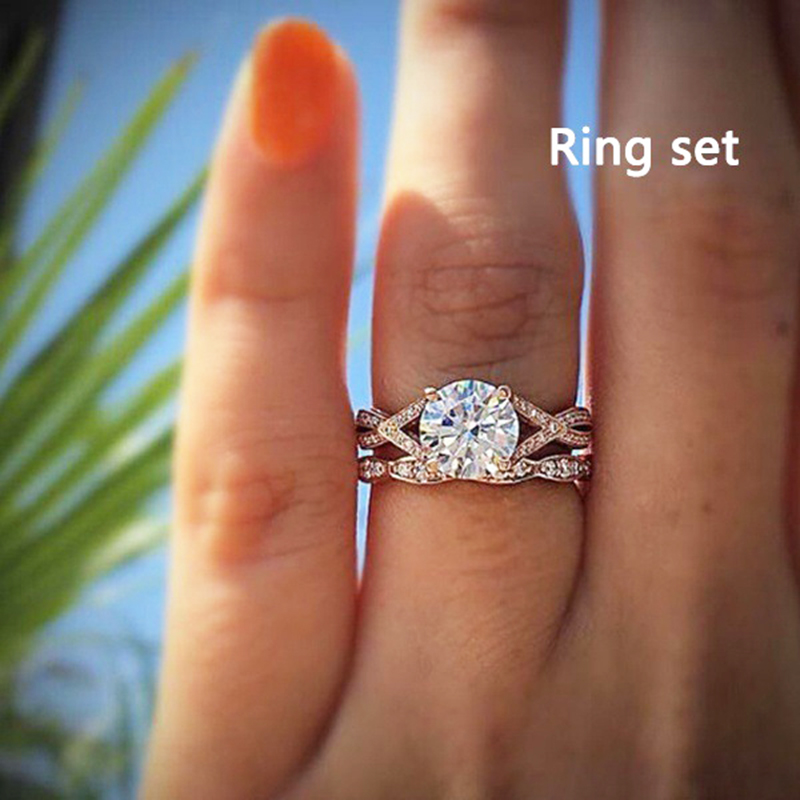 Marriage 1 piece Crystal Ring Zircon Engagement Bridal Hot sale Exquisite Shiny Couple ring Ring Set Marriage