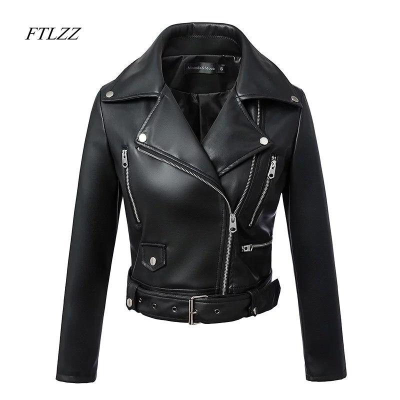 FTLZZ חדש נשים סתיו חורף שחור פו עור מעילי רוכסן מעיל בסיסי תורו למטה צווארון מנוע Biker מעיל עם חגורת