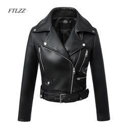 FTLZZ 2019 Новая мода Женская Осень Зима черный искусственный кожаная куртка с застежками-молниями базовое пальто Turn-Down Воротник байкерская
