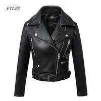 FTLZZ 2019 New Fashion Women Autumn Winter Black Faux Leather Jackets Zipper Basic Coat Turn down Collar Biker Jacket With Blet