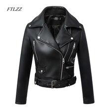 FTLZZ 2019 Новая мода Женская Осень Зима черный искусственный кожаная куртка с застежками-молниями базовое пальто Turn-Down Воротник байкерская куртка с Blet