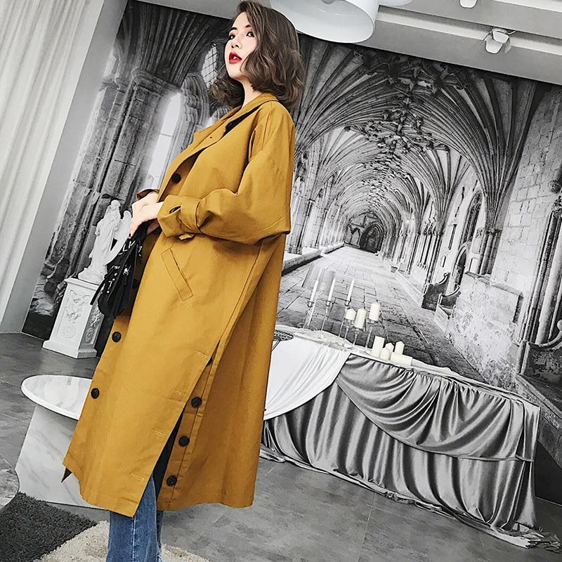 LANMREM 2020 New Fashion Stand Collar Side Botton Vent Loose Large Size Overcoat Female's Full Sleeve Long Jacket Vestido YE591