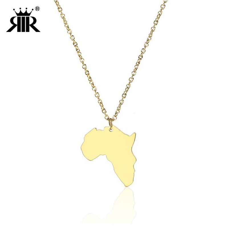 RIR Stainless Steel Gold Tiny Africa Necklace Ethnic Jewelry Afrocentric Pendant Necklace Proud Continent Jewelry necklace