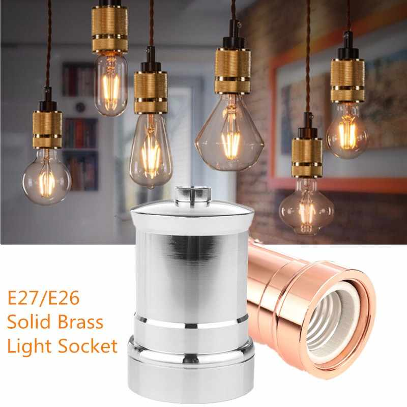 Smuxi Newest E26 E27 Electroplated Aluminum Retro Vintage Antique Edison Screw Light Bulb Socket Lamp Holder Silver/Rose gold