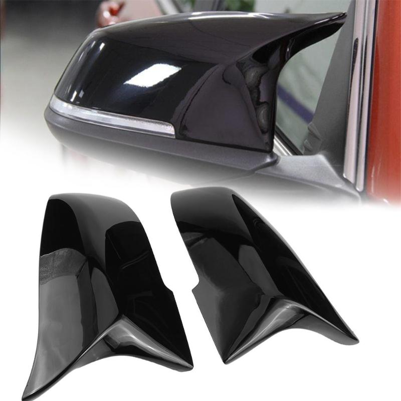 VODOOL 2Pcs Car Door Rear View Mirror Cover Gloss Black Rearview Mirror Caps Car Styling For