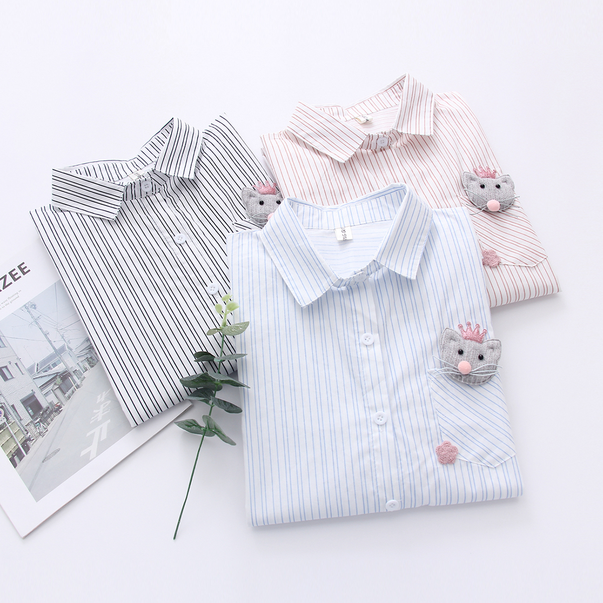 Stripe Patch Shirt Woman Japanese System Cartoon Mouse pocket Spring And Autumn New Pattern Sweet Joker Student blouse in Blouses amp Shirts from Women 39 s Clothing