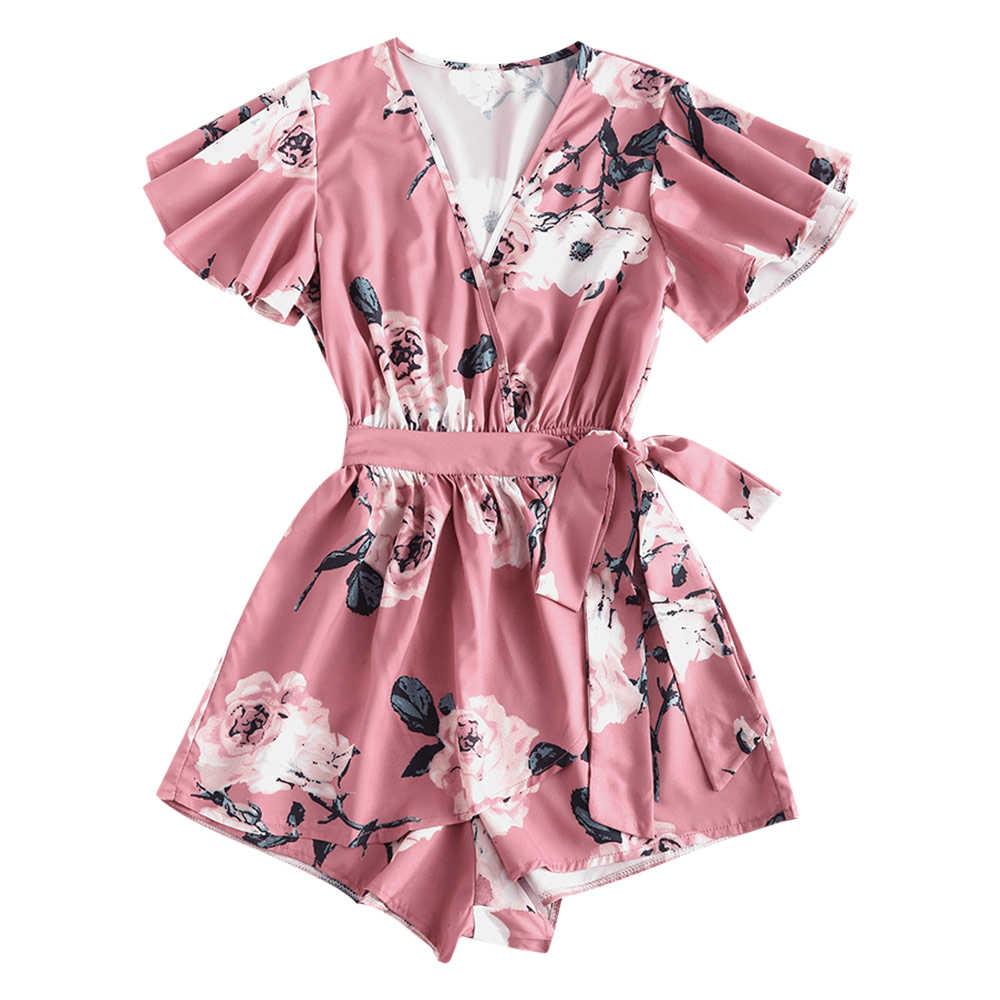 ZAFUL mujeres Mini Boho Floral vestido de verano playa de manga corta cuello pico noche fiesta bohemio playa vestido estilo verano 0587
