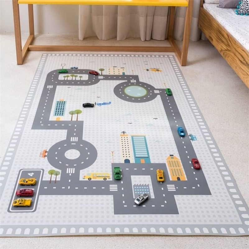 130X80CM Baby Infant Play Mat Folding Toy Car Scene Map Children Crawling Carpet Children's Room Decoration Safety