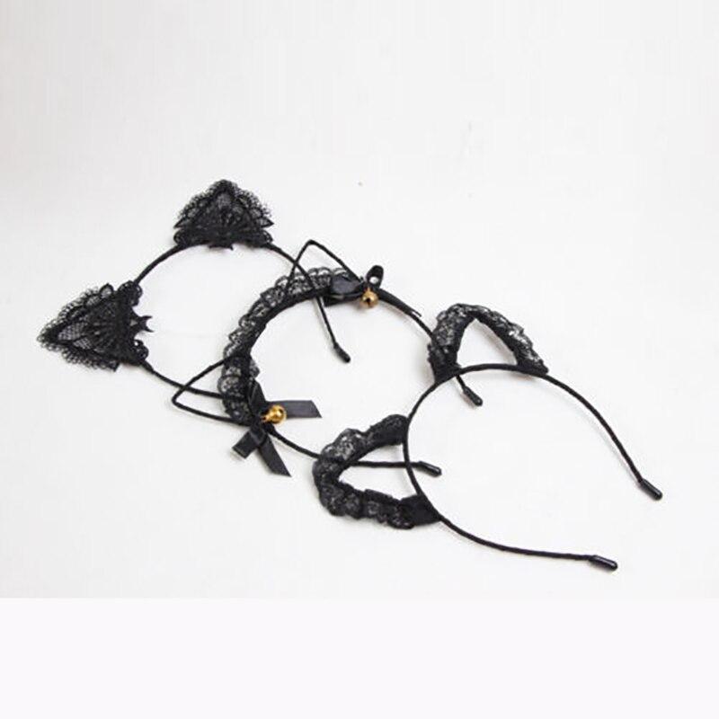 2019 Women Girls Cat Ears Headbands Headwear Lace Pearl Rhinestone Alloy Headband Hairband Hair Hoop Party Pageant Prom New Sale