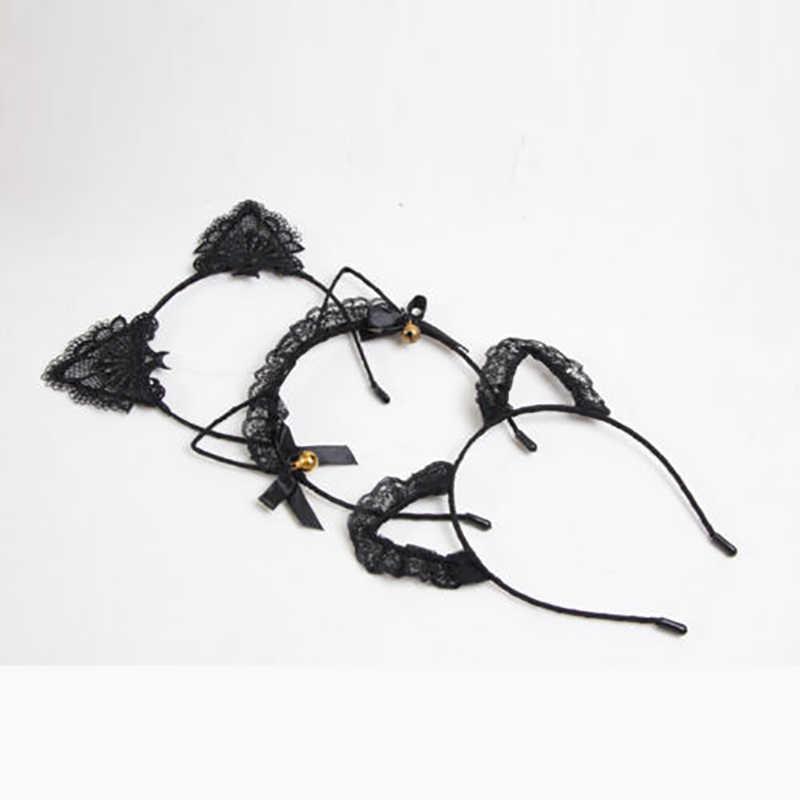 2019 ผู้หญิงหญิงแมวหู Headbands Headwear ลูกไม้ Pearl Rhinestone แถบคาดศีรษะ Hairband ผม Hoop Party พรหมใหม่ขาย
