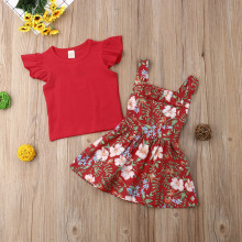 Summer Sister Matching Floral Suspender Dresses Clothing Set