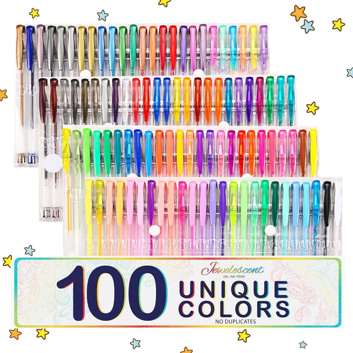 100 Cores Canetas Gel Tinta Livro de Presente Ofício Para Colorir Crianças Desenho Pintura Brilho Marcador Neon Metallic Set Escritório