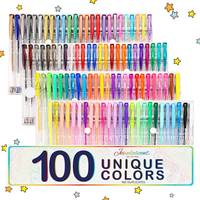 100 Colors Gel Pens Paint Book Craft Gift For Coloring Kids Painting Drawing Glitter Marker Neon Metallic Set Office