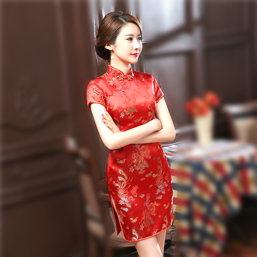 Women Stain Golden Cheongsam Dresses Dragon Phoenix Short Qipao Plus Size 6XL XXXL Cheongsam Dress Traditional Chinese Style in Tops from Novelty Special Use
