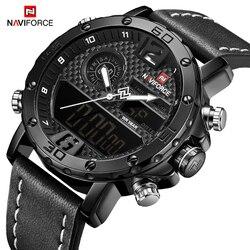 NAVIFORCE New Fashion Casual Quartz Horloges Sport Horloges Mannen Waterdichte Lederen Band LED Digitale Klok Relogio Masculino