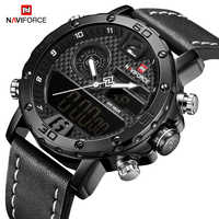 NAVIFORCE New Fashion Casual Quartz Wristwatches Sports Watches Men Waterproof Leather Strap LED Digital Clock Relogio Masculino
