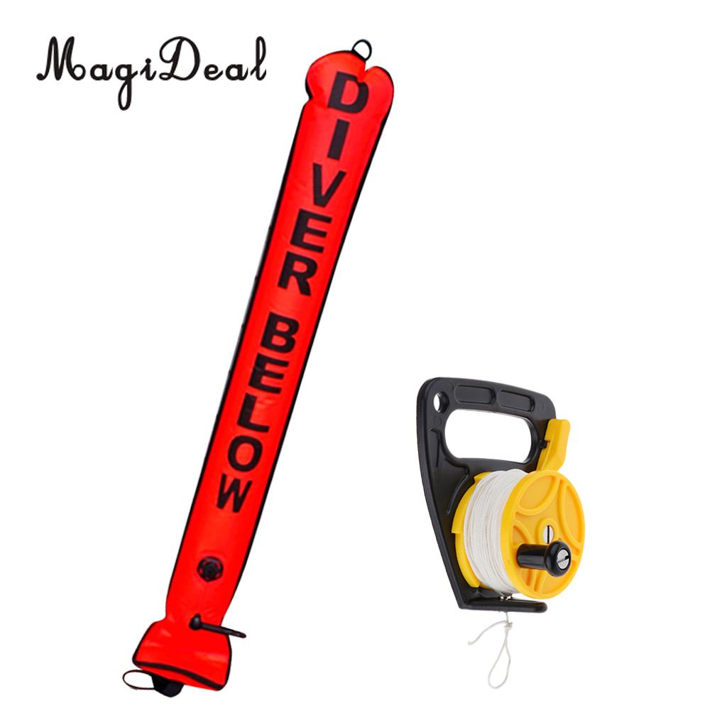 High Visibility 4FT Scuba Diving SMB Surface Marker Buoy Inflatable Tube with Multi Purpose Dive Reel