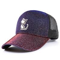 2019 New Style Fluorescence Cat Baseball Cap Korean Style Hip Hop Gradient Glitter Wang Mao Sun Cricket Cap Hat Wholesale