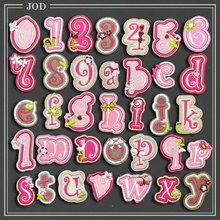 Pink ABC Number Letter Patch for Children Name Clothes Iron on Patches Clothing Applique children Kids Stickers Badges