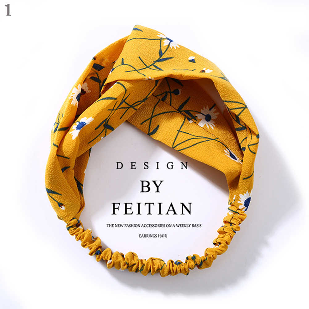 Fashion Women Flower Headband Fabric Cross Knotted Hair Bands Bow Chiffon Floral Elastic Hair Band Korean Lady Hair Accessories