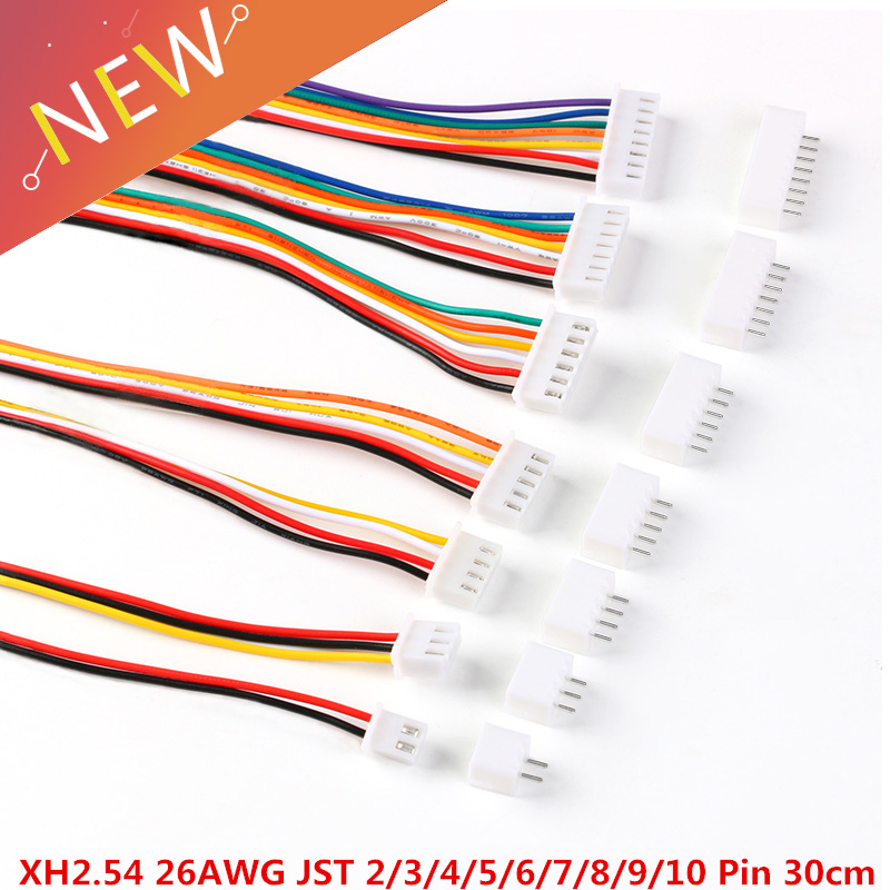 10Sets JST XH2.54 XH 2.54mm Wire Cable Connector 2/3/4/5/6/7/8/9/10 Pin Pitch Male Female Plug Socket 30cm Wire Length 26AWG