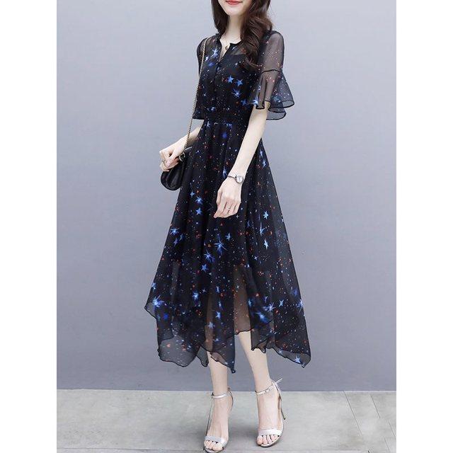 23bdd6aaffe Для женщин макси платья элегантный сладкий черный Винтаж Лето шифон  рукава-фонарики звезда Асимметричная печати