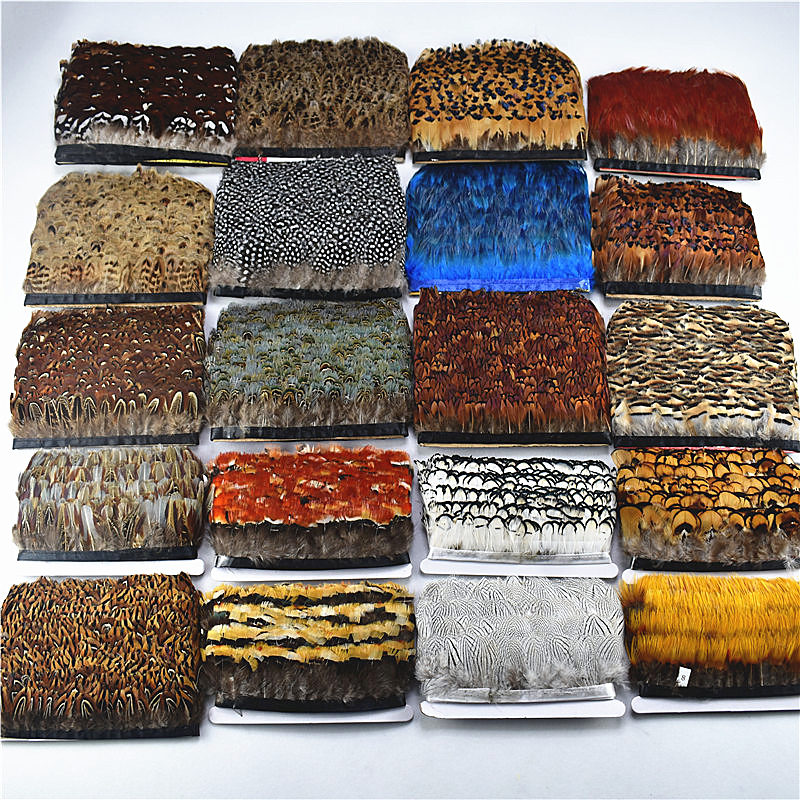 High Quality 1yards Natural Pheasant Feather Trims Fringe Diy Feathers For Crafts Satin Ribbon Sewing Costumes Decorative Plumes