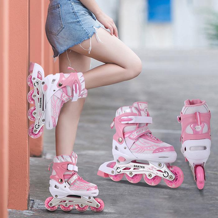 2018 NOUVEAU Unisexe roue pu chaussures de Skate Nouveau Matériau Intérieur Extérieur Rouleau Adolescents Enfants Traceur Réglable Inline Skate